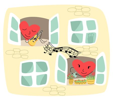 Vector illustration showing part of wall of house where in one window is lively heart that plays guitar, in another window is heart that waters flowers and listens to music. Concept of Valentine s Day