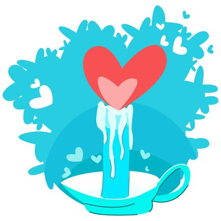 Vector abstract illustration-metaphor of a burning candle, where the flame is drawn by heart. Concept of Valentine s Day, preservation of love in couple, overcoming problems together.