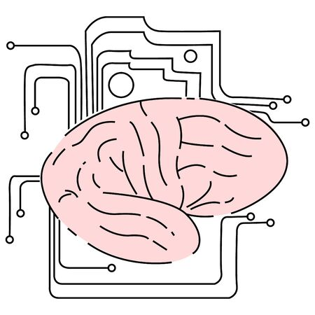 Vector illustration of isolated brain, which is surrounded by elements chip.