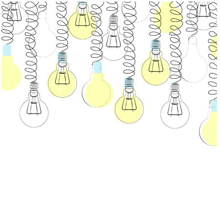 Vector illustration with set of glowing lamps hanging from the top. There is space for text. Illustration