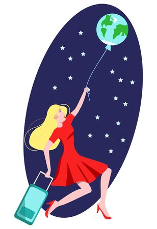 Vector flat illustration woman flying on ball in form of globe of Earth. She holds Luggage bag. It can be used in booklets, banners, business cards, postcards, etc. with tourist and other concept.