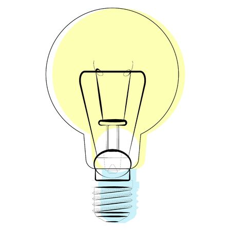 Vector illustration of isolated old burning light bulb on white background. Contour and color are used.