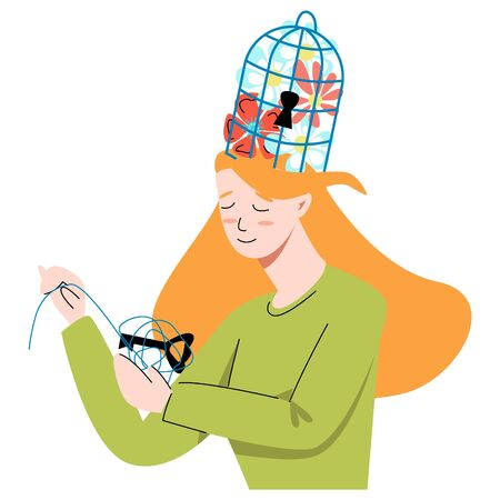 Vector flat metaphor with woman who unwinds ball in which key is hidden from cage that is located on her head.