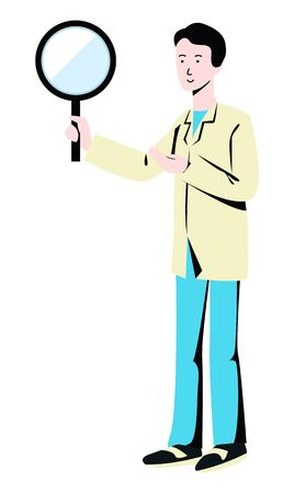 Vector flat illustration of man with big magnifying glass. Concept of search, analysis, investigation. It can be used in web design, business cards, banners, advertising and various printing products.
