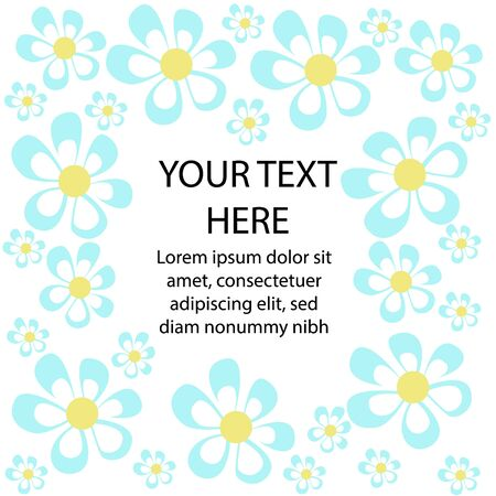 Vector flat illustration with set of daisies decorated in the form of frame. Inside there is space for text. Can be used in greeting cards, banners, in print, in web design.