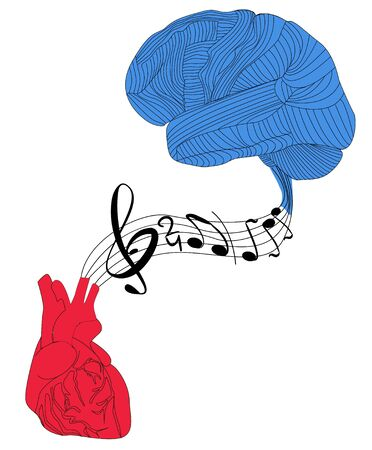 Abstract brain and heart are united by the musical lines and notes into which they proceed. It can be used as concept of music therapy, creativity in psychology, cardiology, neurology, medicine.