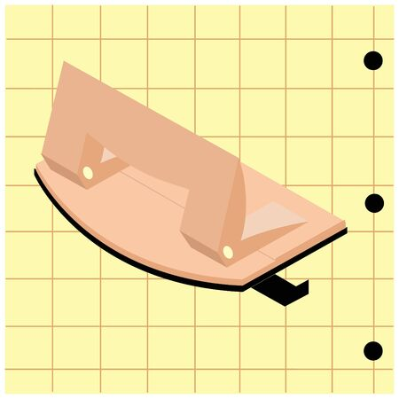 Vector illustration with hole punch in isometry on background sheet of paper. It can be used as separate element in work with concept of stationery, web design, postcards, business cards, printing, etc.