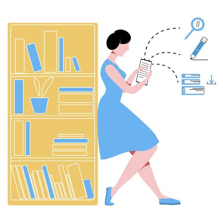 Vector flat illustration of woman in library reading e-book near bookcase.