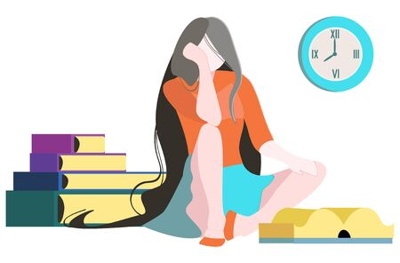 Vector illustration with tired girl who is reading books, in background stack of books, clock. Vettoriali