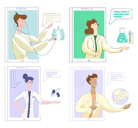 Vector of set pictures with various doctors online, neurologist, pulmonologist, therapist, laboratory specialist.
