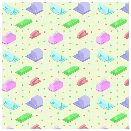 Vector pattern with set of hole punches on background sheet paper. Illustration