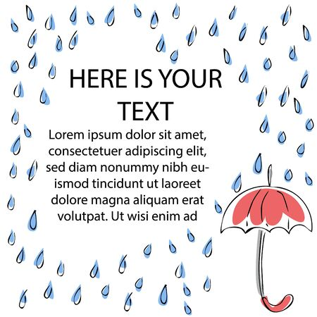 Vector set of falling raindrops, decorated in form of frame, and umbrella. There is free space for text.
