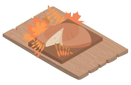 Vector illustration with rustic bread on table, in isometry, retro style, autumn background.