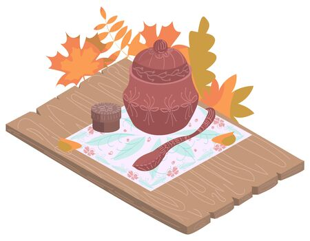 Vector illustration rustic tableware, table, food in isometry in retro style, autumn background. Illustration