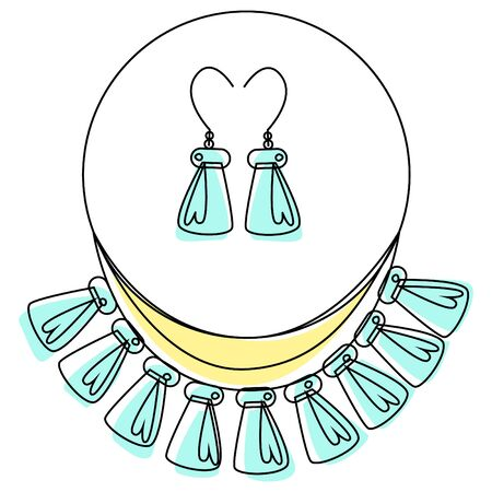 Vector illustration with abstract jewelry set of necklaces and earrings in vintage or ethnic style. Lines and color are used.