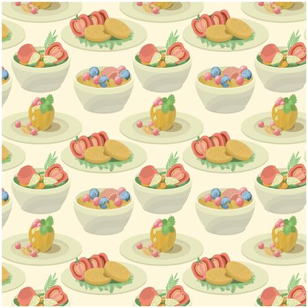 Vector pattern with set of meal plates, isometric. Concept nutrition, health. Illustration
