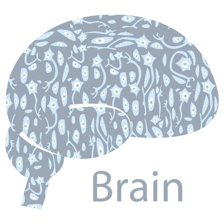 Vector depicting abstract brain inside which there is different enlarged neurons. Medical, scientific concept. Invitations, posters, business cards, web design, various printing products can be used.