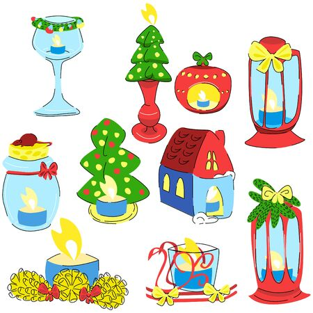 Vector set of new year, Christmas different candles. The concept of holiday, congratulations, family, warmth. Cards, invitations, posters, web design, printing products can be used 向量圖像