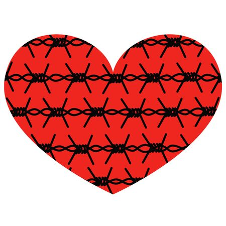 Vector isolated abstract heart metaphor with image of barbed wire inside.