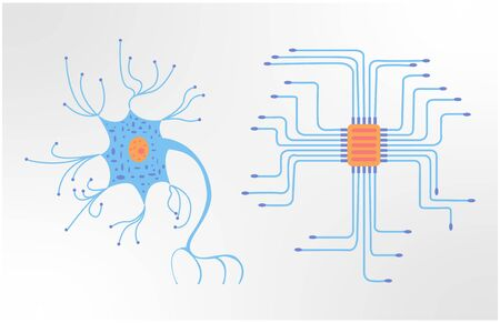 Vector flat illustration showing ordinary human neuron on one side and chip on the other side. Stock Illustratie
