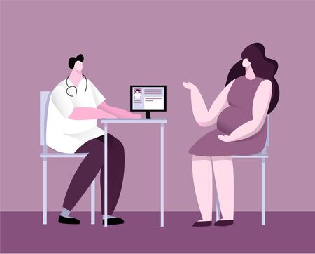 Vector flat illustration with pregnant woman who is at reception obstetrician gynecologist