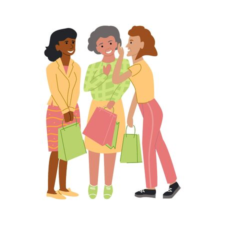 Vector flat illustration with elderly women who are chatting, laughing in hands of their shopping bags.