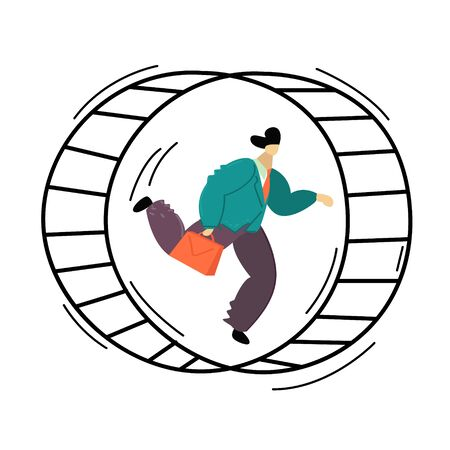 Vector illustration with man office worker who running in hamster wheel.