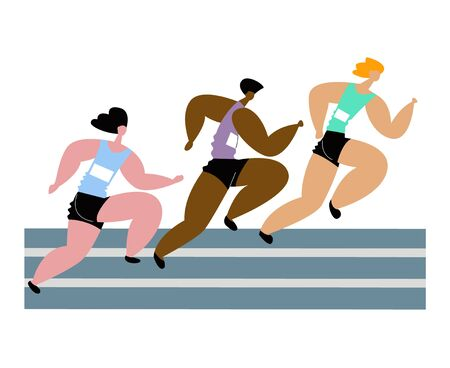 Vector flat isolated illustration with strong runners competing in marathon.