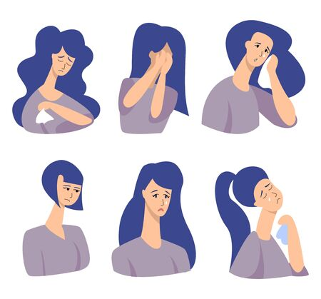 Vector with set images of women with emotions sadness, suffering, sorrow, grief, despondency, melancholy Çizim