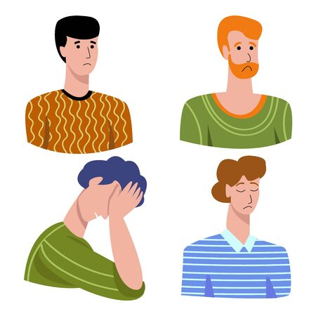 Vector illustration with set negative emotions in men sadness, longing, suffering, shame, disappointment, guilt