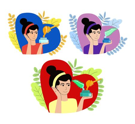 Set cosmetic products, creams with aloe, honey and mixture of them. Illustration