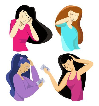 Vector illustration with set of women who have headache Illustration