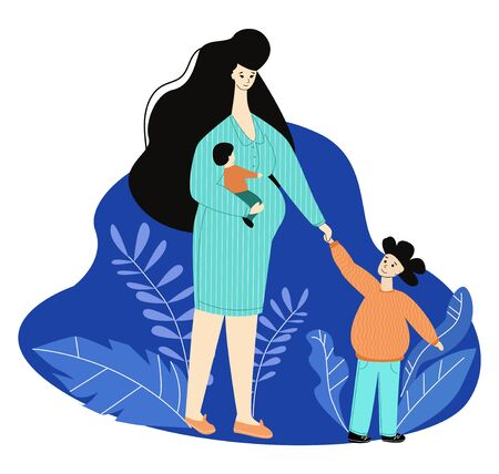 Vector complex flat illustration of pregnant woman and her young children.