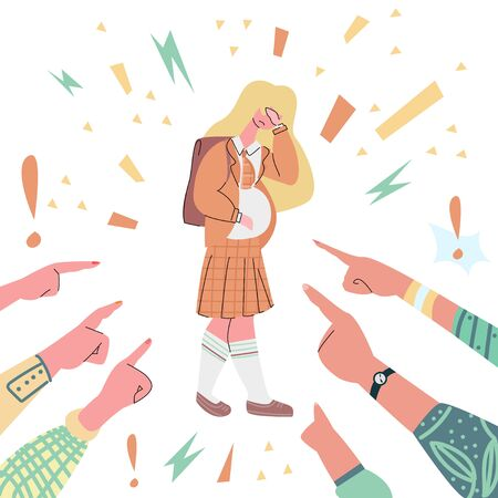 Vector illustration with sad pregnant teenager with face palm, pointed finger people. They condemn her.