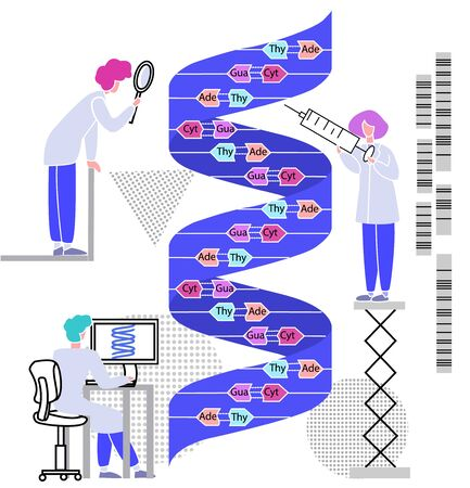 Vector with doctors, scientists who examine enlarged DNA chain. Some people investigate, others on computer conduct statistics, make medicine in genetic engineering. oncept modern genome research. Illusztráció