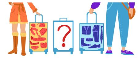 Vector flat illustration with people at the airport or train station. Contents of their Luggage bags are known. Separately, there is no man s bag with unknown contents. Concept safety in public places