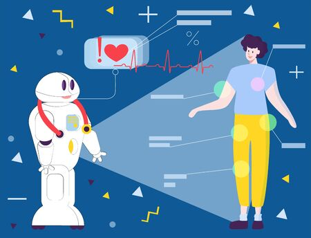 vector modern flat illustration with robot doctor who analyzes state functioning patient s body.