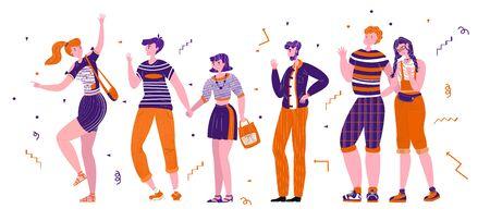 Illustrazione vettoriale piatta con set felici, alla moda, giovani che sono uniti in gruppo. Si salutano, parlano, mostrano. Ci sono diverse età, coppie. Usa web design, cartoline, banner ecc
