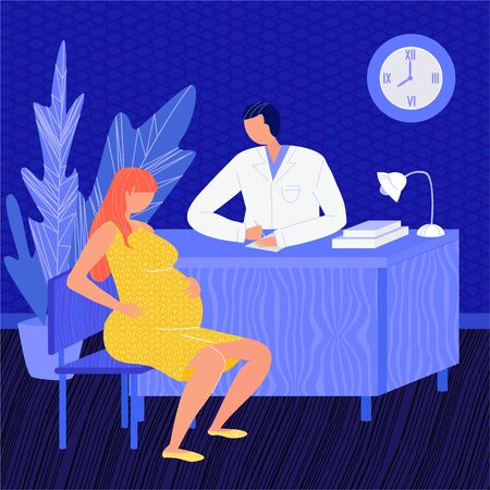 Vector flat illustration pregnant woman at doctor s appointment.