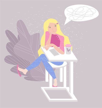 Vector flat illustration with young female student or school girl who is thinking about writing complex text. She doesn t know what to write. Concept learning, thinking. Use in web design, banner, etc