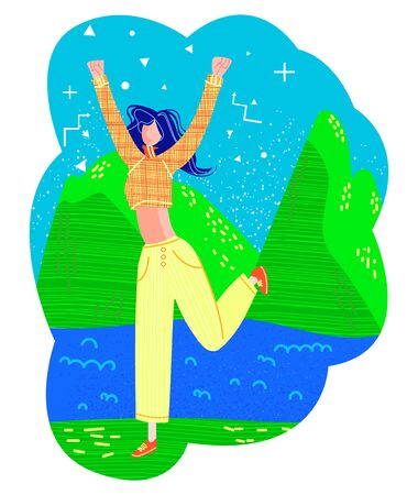 Vector flat illustration with happy young woman in jump on the background of mountains and river. Concept travel, tourism, outdoor recreation. Use in banners, postcards, web design, etc.