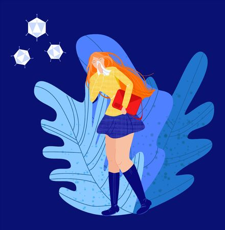 Vector flat illustration young woman with acute respiratory infection. She has runny nose, holds handkerchief to face. There are abstract flying viruses. Concept viral diseases, prevention, treatment.