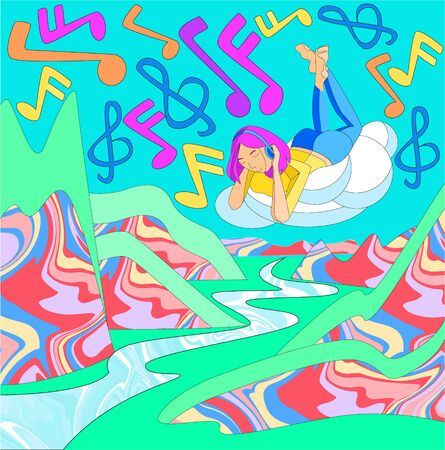 Vector flat abstract illustration in 90s style with young woman on cloud listening to music. On background, stylized notes are shown in sky, mountains with texture are shown below. Retro music concept