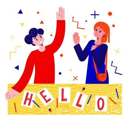 Vector flat illustration young man and woman greeting each other for their further creative work together. There is lettering with word Hello on sheets of paper. Used texture of clothes. Çizim