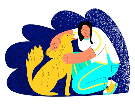 Vector flat illustration with a young woman who is happy to hug a dog.