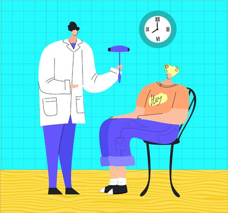 Vector flat illustration with doctor s office and neurologist s examination of young patient. Concept neurology, health, treatment, diagnostics degenerative, vascular diseases of brain, memory, etc. Vetores