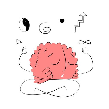 Vector flat illustration with abstract brain that meditates, relaxes, and rests.