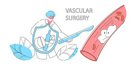 Vector apartment abstract vascular surgeon who performs operation to remove blood thrombus from vessel.