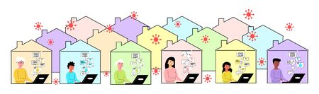Vector flat illustration set abstract images people of different ages who work online with laptop. Concept isolation, quarantine, and protection of yourself and others from infection with coronavirus. Ilustração