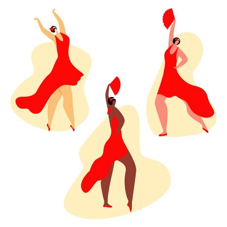 Vector flat set young, attractive women of different skin colors, nationalities performing the Habanera dance. Concept passionate feelings in art dance, rhythm. It can be used in banners, posters etc.